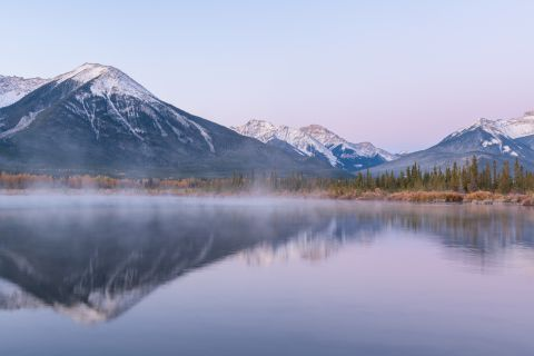 Mountains reflecting in Third Vermillion Lake