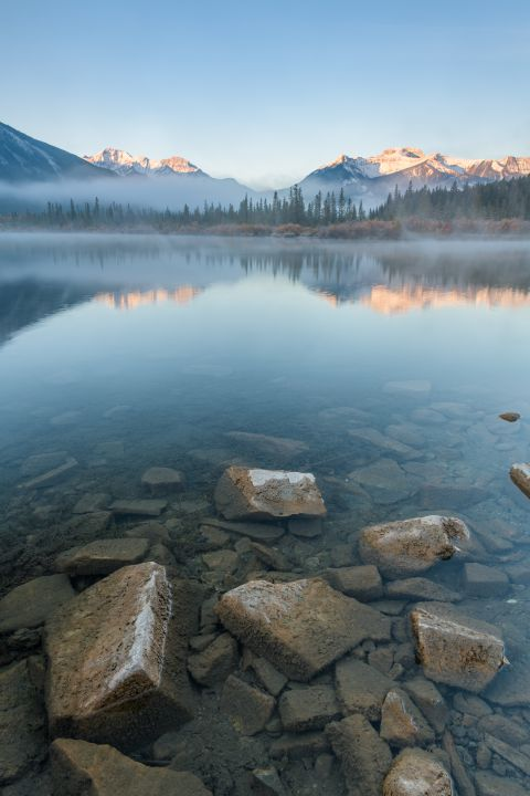 Mpountains reflecting in Third Vermillion Lake