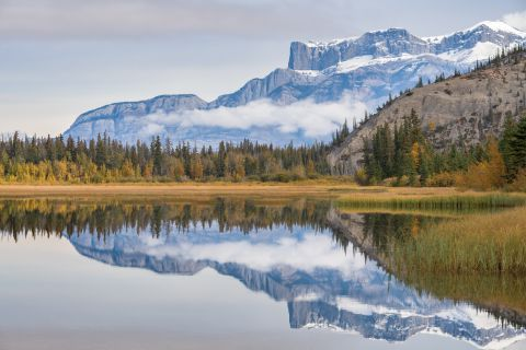 Reflecting mountains in Jasper Lake