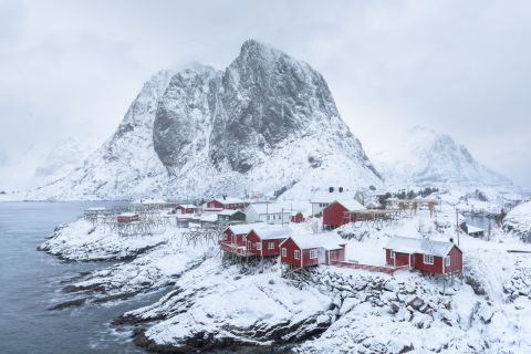 Villayhe of Hamnoy after snowstorm