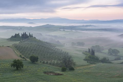 Belvedere during a misty sunrise